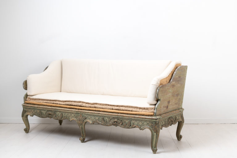 Swedish Rococo Sofa with Original Paint and Cushions