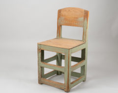 Rustic baroque style chair with original green paint. The chair is a northern Swedish country furniture from the first half of the 19th century.
