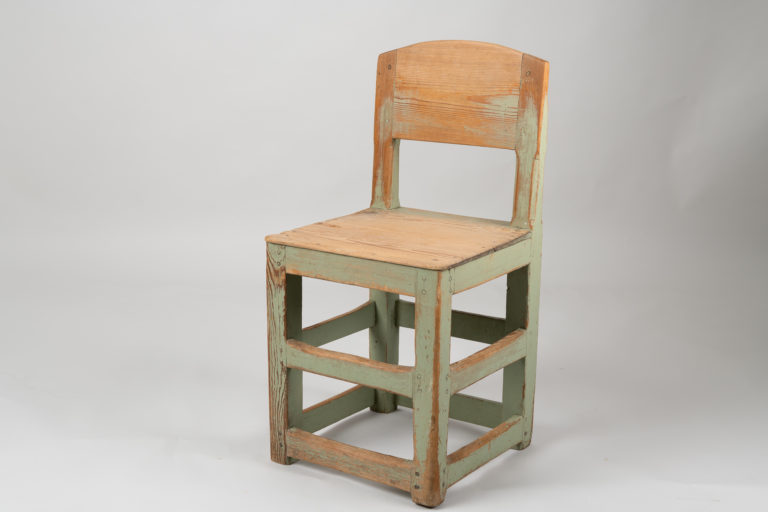 Rustic Baroque Style Chair with Original Green Paint