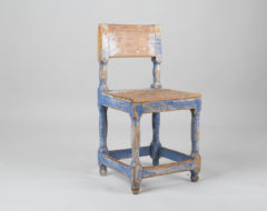 Blue Baroque Styled Chair from the second half of the 19th century. Made in northern Sweden and in genuine untouched condition