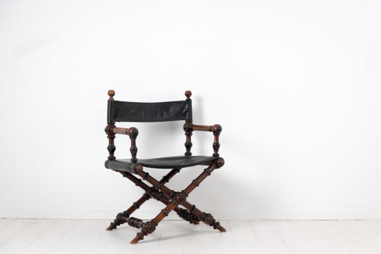 Swedish Antique Directors Chair in Renaissance Revival