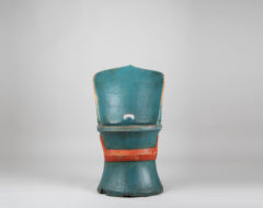 Blue folk art kubbstol from the second half of the 19th century. A kubbstol is a chair made from a hollowed tree trunk and is an early model