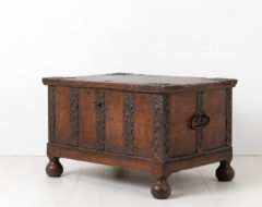 Swedish baroque chest from the later half of the 18th century. The chest has original details in hand wrought iron such as the handle, lock and key