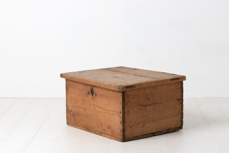 Swedish Chest or Box in Pine with Iron Details