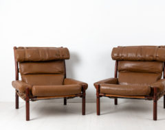 Inca armchairs by Arne Norell designed 1971. The pair of armchairs have upholstery in buffalo leather and frames made from birch.