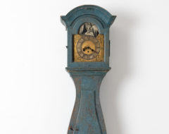 Baroque long case clock from Sweden made around 1770 to 1790. The clock is pine with the original blue paint as well as the authentic patina