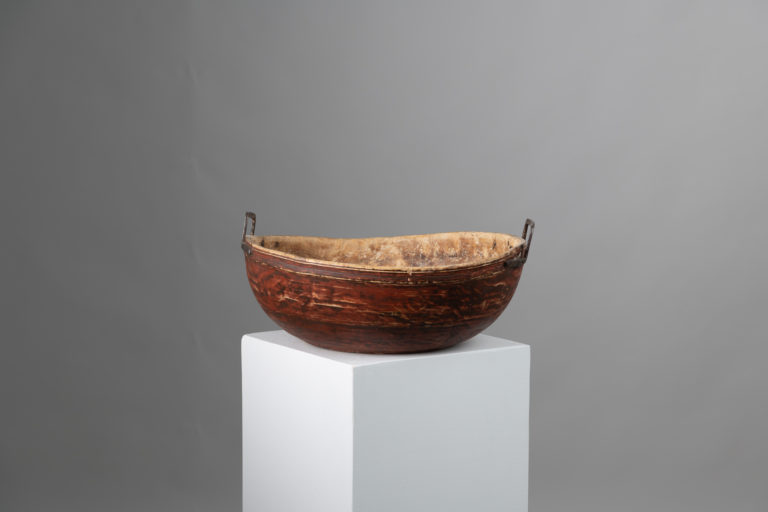 Painted Red Wood Bowl in Untouched Original Condition