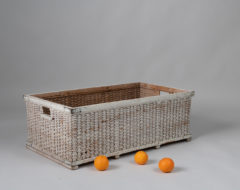Woven basket from pine shavings made during the late 1800s. Original white paint. For moreMiscellaneous