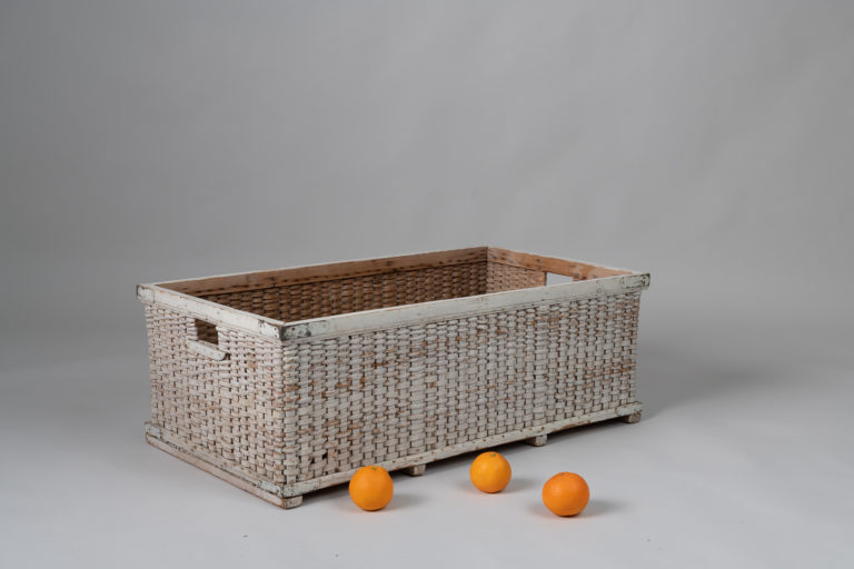 Woven Basket from Pine Shavings with White Paint