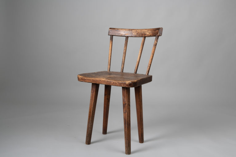 Folk Art Pine Chair from Sweden, Mid 1800s