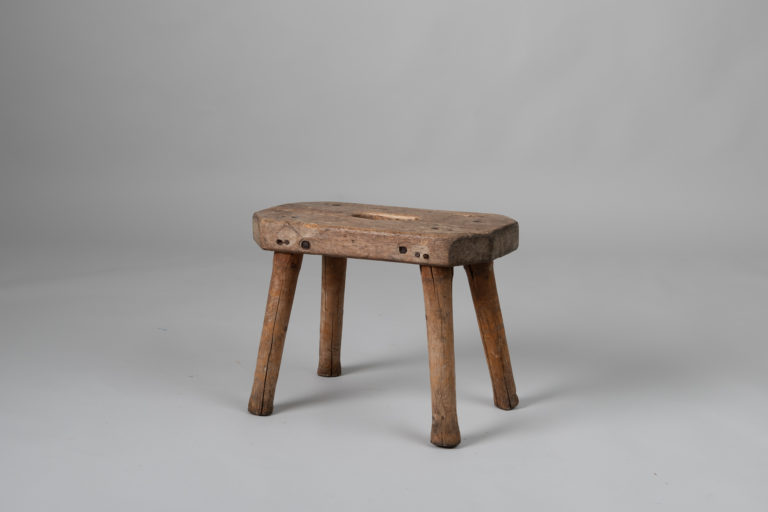 Folk Art Pine Stool from Northern Sweden