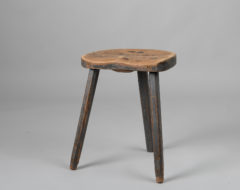 Blue folk art stool with three legs from the mid 1800s. The stool is from northern Sweden and has the original blue paint and a worn seat. Good patina.