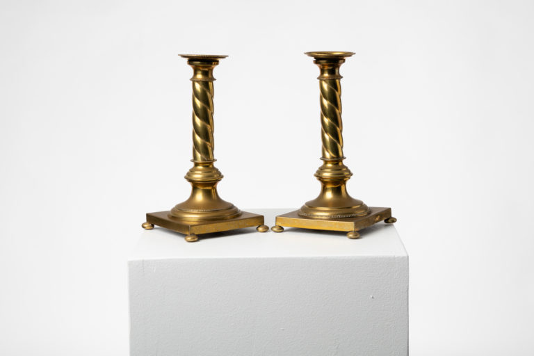 Swedish Candle Sticks in Brass in Gustavian Style