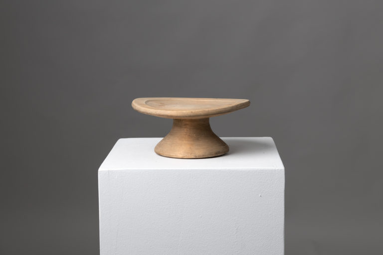 Folk Art Wooden Stand with a Round Foot