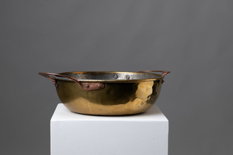 Large Brass Bowl with Copper Handles