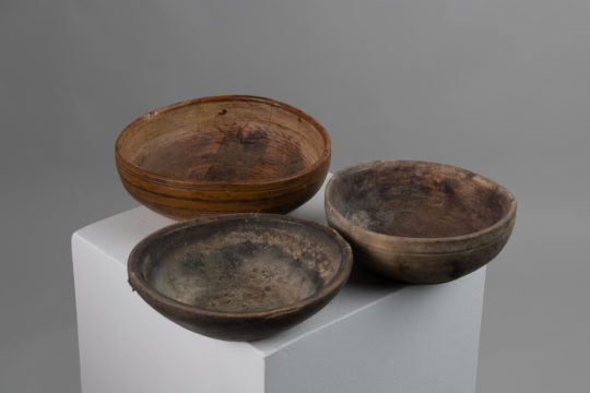 Antique turned wood bowls from northern Sweden. The bowls are mid 19th century and were used for the storage and preparation of food