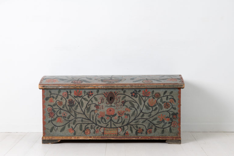 Folk Art Pine Chest from Northern Sweden