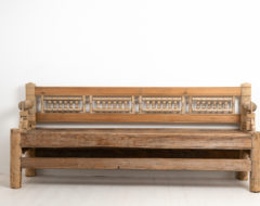 Early Swedish pine bench from northern Sweden. The bench is a very early version of a seat or sofa and this one also has a reversible backrest