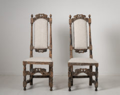 Pair of baroque chairs from Sweden made during the mid 1700s. The chairs are hardwood and dry scraped to old historic paint.